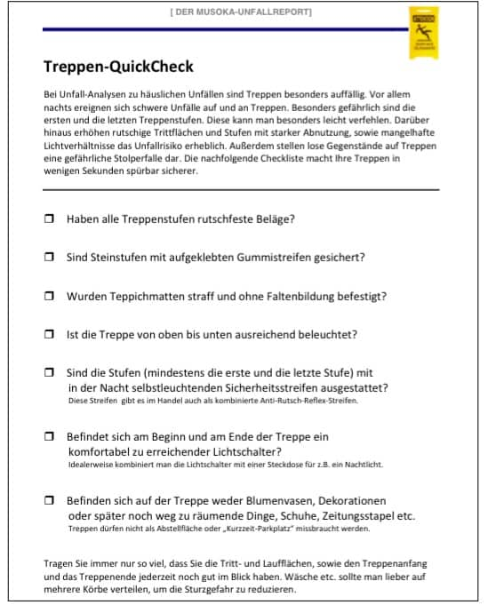 Ein Treppen-QuickCheck ergänzt Unfallversicherung sinnvoll für Senioren
